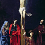 Christ On The Cross With The Virgin Mary Magdalene St John And St Francis Of Paola Art Print by Nicolas Tournier