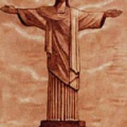 Christ The Redeemer Statue Original Coffee Painting Art Print
