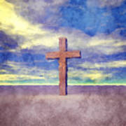 Christian Cross Landscape Art Print