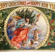 Christmas Angel Label Art Print