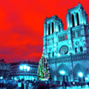 Christmas At Notre Dame Pop Art Art Print