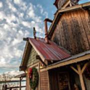 Christmas Barn On The Lake Art Print