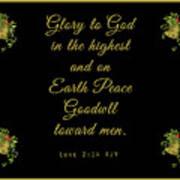Christmas Card With Scripture - Luke 2 14 Art Print