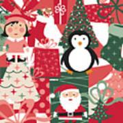 Christmas Collage Art Print