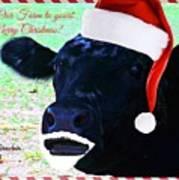 Christmas Cow Greeting Art Print