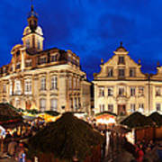 Christmas Fair In Front Of Town Hall Art Print