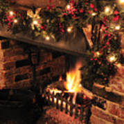 Christmas Fireplace Art Print by Andy Smy