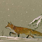Christmas Fox Snow Art Print