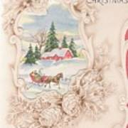 Christmas Greetings 1251 - Vintage Christmas Cards - Snowy Cottage Art Print
