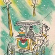 Christmas Illustration 1218 - Vintage Christmas Cards - Horse Drawn Carriage Art Print