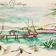 Christmas Illustration 1220 - Vintage Christmas Cards - Landscape Painting Art Print