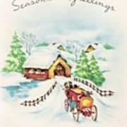 Christmas Illustration 1226 - Vintage Christmas Cards - Horse Drawn Carriage Art Print