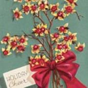Christmas Illustration 1228 - Vintage Christmas Cards - Holiday Cheer - Flowers Art Print