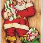 Christmas Illustration 1230 - Vintage Christmas Cards - Santa Claus With Christmas Gifts Art Print
