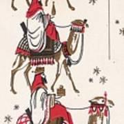 Christmas Illustration 1234 - Vintage Christmas Cards - Three Kings On Camel Art Print