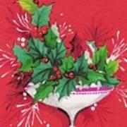 Christmas Illustration 1241 - Vintage Christmas Cards - Mistletoe Art Print