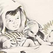 Christmas Illustration 1248 - Vintage Christmas Cards - Infant Jesus On Crib Art Print