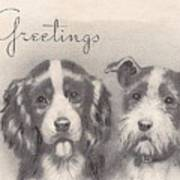 Christmas Illustration 1252 - Vintage Christmas Cards - Two Dogs Art Print