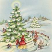 Christmas Illustration 15 - Winter Ladscape During Christmas Time Art Print