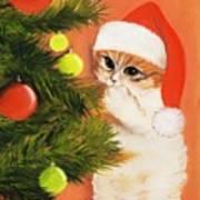 Christmas Kitty Art Print by Anastasiya Malakhova