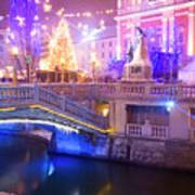 Christmas Lights In Preseren Square In Ljubljana Art Print