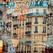 Christmas Lights Paris At Twilight Art Print