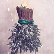 Christmas Mannequin Dressed In Fir Branches Art Print