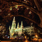 Christmas Market At The Vienna City Hall Art Print