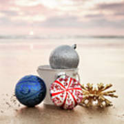 Christmas Ornaments On The Beach Art Print