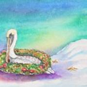 Christmas Pelican Art Print