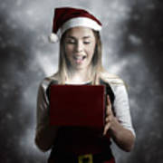 Christmas Present Girl Opening Magic Gift Box Art Print