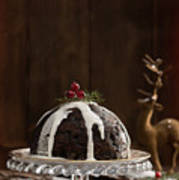 Christmas Pudding With Cream Art Print