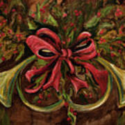Christmas Red Ribbon Art Print