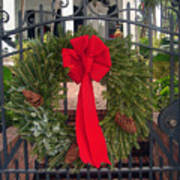 Christmas Ribbon On Iron Door Art Print