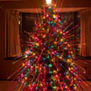 Christmas Tree Light Spikes Colorful Abstract Art Print