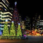 Christmas Tree On New Year's Eve In The Street Of A Big City Art Print