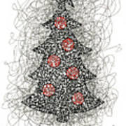 Christmas Tree Pen And Ink Drawing Art Print