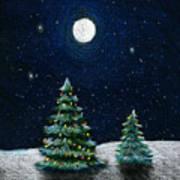 Christmas Trees In The Moonlight Art Print
