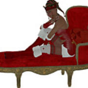 Christmas Woman On Couch Art Print