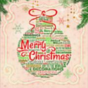 Christmas Words Ornament Art Print