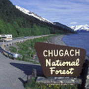 Chugach National Forest Sign And Scenic Art Print