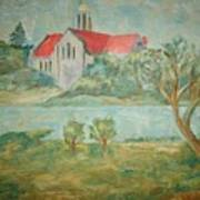 Church Across River Art Print