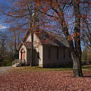 Church And Fall Foliage In Eckley Village Art Print