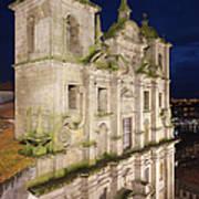 Church Of Saint Lawrence By Night In Porto Art Print