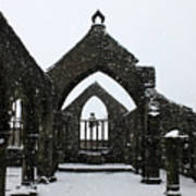 Church Of St Thomas A Becket In Heptonstall In Falling Snow Art Print