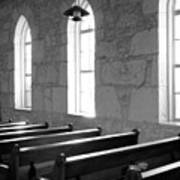 Church Pews Black And White Art Print