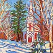 Church Snow Scene Art Print