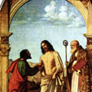 Cima Da Conegliano The Incredulity Of St Thomas With St Magno Vescovo Art Print