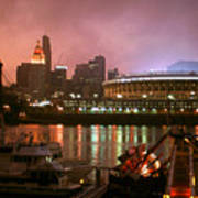 Red Sunset Sky In Cincinnati Ohio Art Print