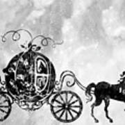 Cinderella's Carriage-black Art Print